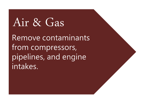 Air & Gas Removes contaminants from compressors, pipelines, and engine intakes.